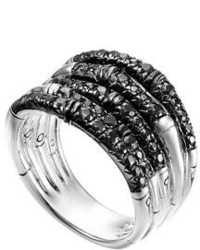 John Hardy Bamboo Lava Wide Ring With Black Sapphires Size 7