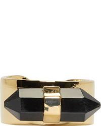 Isabel Marant Black Crystal Gold Santa Ring