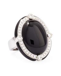 Ivanka Trump Black Onyx Cabochon Cocktail Ring With Diamonds