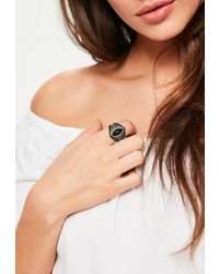 Missguided Black Stone Statet Ring