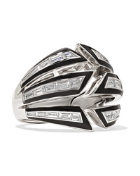 Stephen Webster Dynamite Bomb 18 Karat White Gold Diamond And Enamel Ring