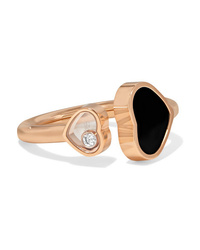 Chopard Happy Hearts 18 Karat Gold Diamond And Onyx Ring
