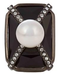 Oscar de la Renta Octagon Crystal Embellished Ring