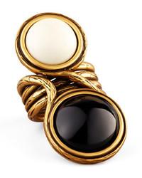Oscar de la Renta Two Cabochon Ring Blackwhite