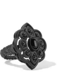 Gucci Resin And Crystal Ring Black