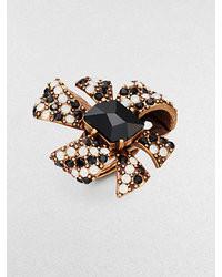 Oscar de la Renta Swarovski Crystal Bow Cocktail Ring