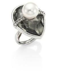 Oscar de la Renta Teardrop Crystal Faux Pearl Ring
