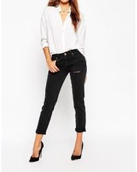 e3723aaf1b8de ... Asos Collection Kimmi Shrunken Boyfriend Jeans In Washed Black With  Thigh Rip