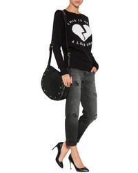 Current/Elliott Destroyed Boyfriend Jeans In Black | Where to buy ...