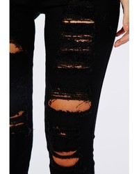 Missguided Brigitte High Waisted Extreme Ripped Skinny Jeans Black ...