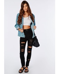 Missguided Brigitte High Waisted Extreme Ripped Skinny Jeans Black