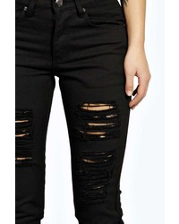 Boohoo Sara Ripped Boyfriend Black Jeans | Where to buy & how to wear