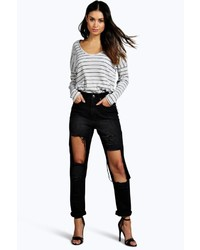 Boohoo Val High Waisted Dirty Wash Distressed Mom Jeans