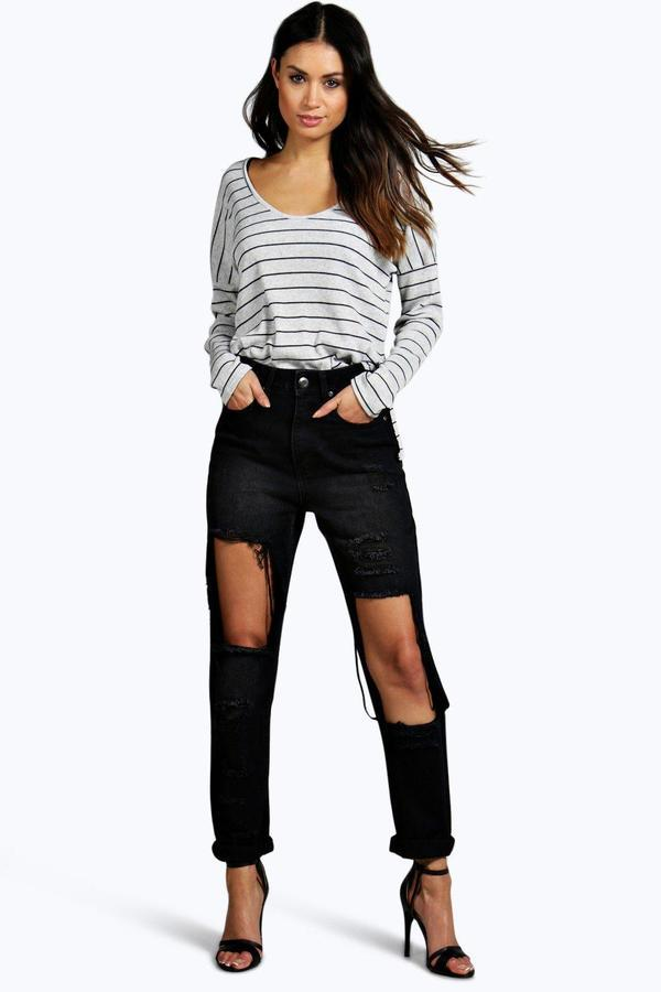 detailed images fashionable patterns world-wide renown $46, Boohoo Val High Waisted Dirty Wash Distressed Mom Jeans