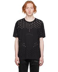 Givenchy Black Slashed Heart Gothic Logo T Shirt