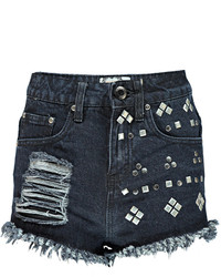 Boohoo Annie Distressed Studded Frayed Denim Hotpants