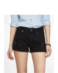 Express 2 Inch High Rise Cutoff Denim Shorts Black 12