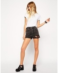 Asos High Waist Denim Mom Shorts In Washed Black With Rips