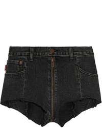 Vetements Levis Distressed Denim Shorts Black