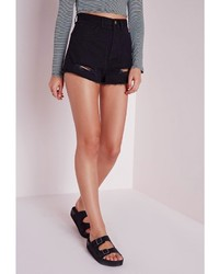 Missguided Ripped Hem High Waisted Denim Shorts Black | Where to ...