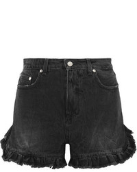 MSGM Ruffled Distressed Denim Shorts Black