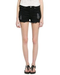 Mango Outlet Black Denim Shorts