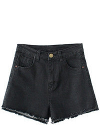 Ripped Hems Sheer Black Denim Shorts