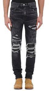4626375016d296 Amiri Mx1 Leather Inset Slim Jeans, $1,040 | Barneys New York ...