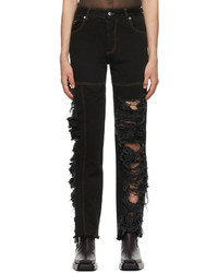 Peter Do Black Asymmetric Combo Rip Jeans