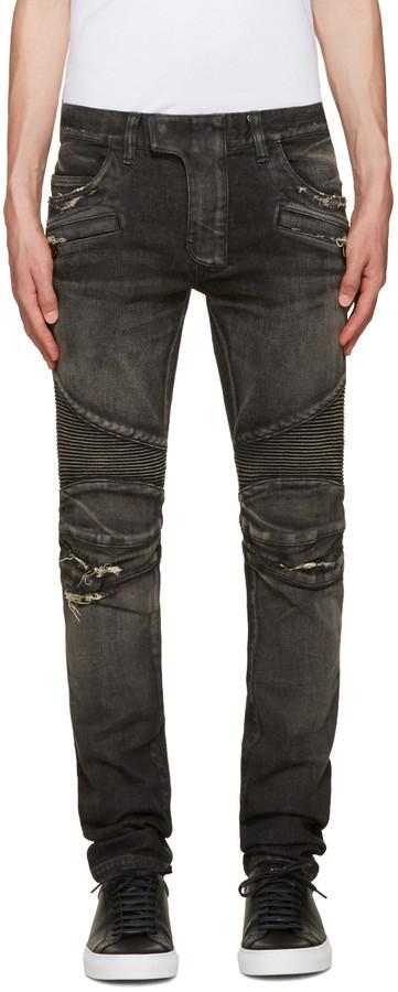 05a7ac9d6b1 Balmain Black Distressed Biker Jeans, $1,475 | SSENSE | Lookastic.com