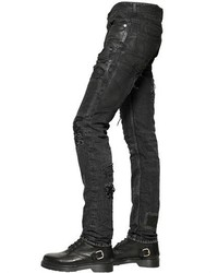 a57f337e78a ... Diesel Black Gold 17cm Wool Patched Destroyed Denim Jeans ...