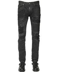 5dcc41d60eb ... Diesel Black Gold 17cm Wool Patched Destroyed Denim Jeans