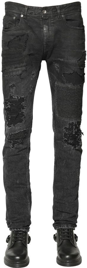 928ff9e28f7 17cm Wool Patched Destroyed Denim Jeans. Black Ripped Jeans by Diesel Black  Gold