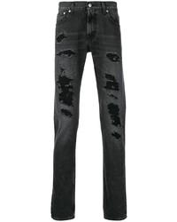 Alexander McQueen Distressed Straight Cut Jeans
