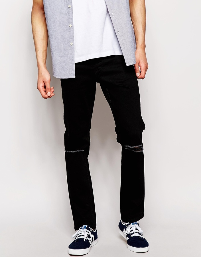 2deedb69f6a ... Ripped Jeans Jack and Jones Jack Jones Slim Black Jeans With Rips ...