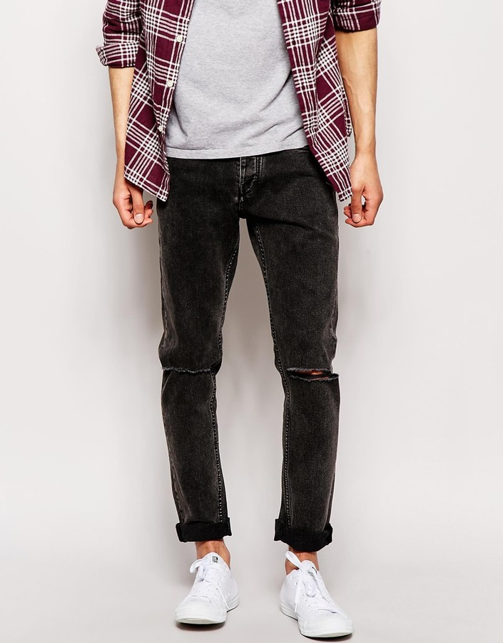 e43e73fc Jack and Jones Jack Jones Washed Black Slim Fit Jeans With Rips, $81 ...