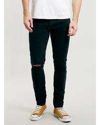 Topman Ltd Washed Black Skinny Ripped Jeans