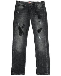 MSGM Felt Patch Destroyed Stretch Denim Jeans