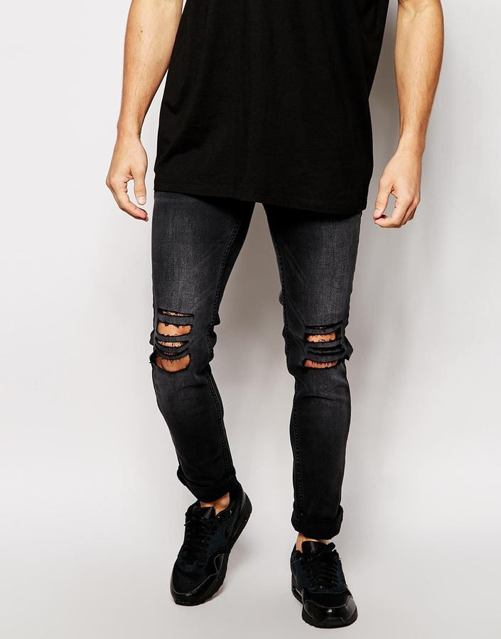... Religion Noize Skinny Fit Washed Black Jeans With Cut Outs ...