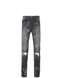 God's Masterful Children Ripped Embroidered Slim Fit Jeans