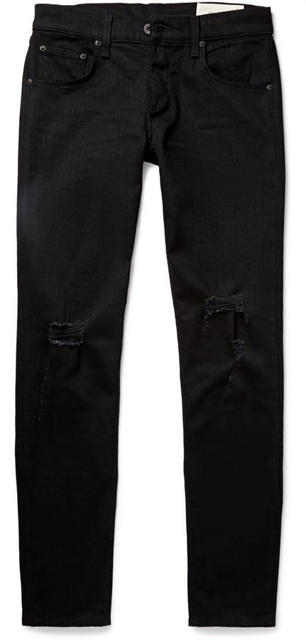 f6fe8aedddb ... rag & bone Skinny Fit Tapered Fit 1 Distressed Stretch Denim Jeans ...