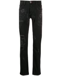 Philipp Plein Straight Supreme Skull Jeans