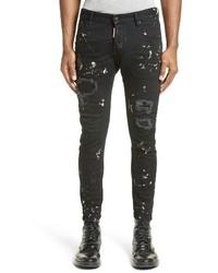 DSQUARED2 Tidy Biker Ripped Acid Wash Skinny Jeans