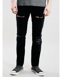 Topman Black Blow Out Knee Classic Skinny Jeans