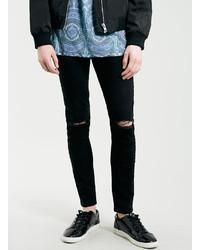 Topman Black Ripped Knee Stretch Skinny Fit Jeans