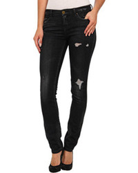 Black Ripped Leather Skinny Jeans