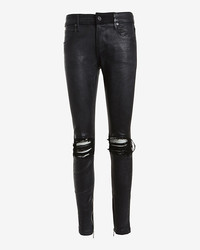 Rta Denim Knee Rip Leather Skinny Black