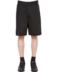 Givenchy Destroyed Cotton Denim Bermuda Shorts