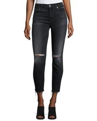 7 For All Mankind High Waist Ankle Distressed Skinny Jeans Black