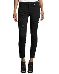 7 For All Mankind The Ankle Skinny Destroyed Jeans Wsequins Black Cut Out